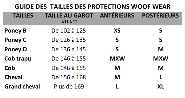 Guide des tailles Woof Wear