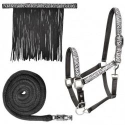 Licol, longe et frontal anti-mouche cheval Zebra - Waldhausen