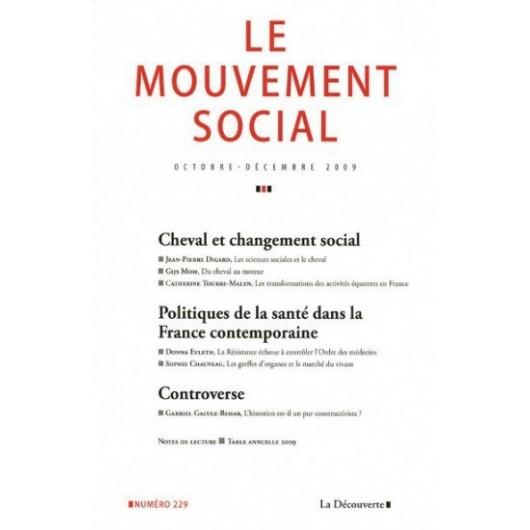 Cheval et changement social  -  Revue Le mouvement social n°229  La Découverte
