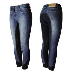 Pantalon d'équitation jeans fond grip Femme Denim Tredstep