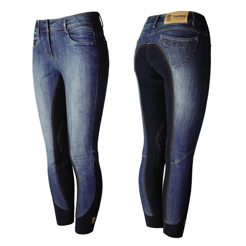 pantalon d 39 quitation jeans fond grip femme denim tredstep. Black Bedroom Furniture Sets. Home Design Ideas
