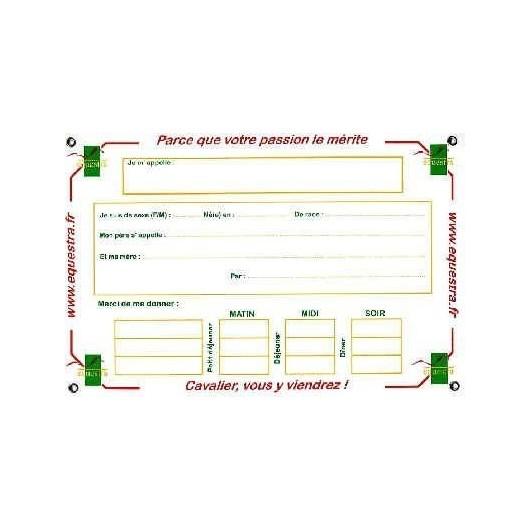 PLAQUE D'ECURIE IDENTIFICATION EQUESTRA (20x30)