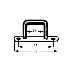 DEMI ANNEAU SUR PLAQUE( pontet)  POUR FILET A FOIN (rectangulaire )