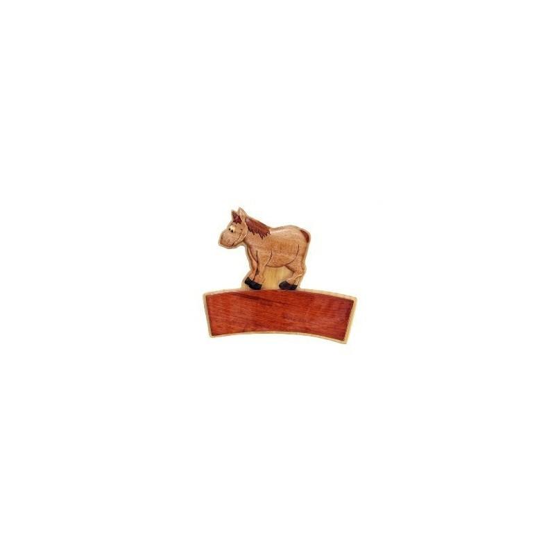 PLAQUE BOIS PRENOM PRESTIGE MOTIF CHEVAL (18 X 20 cms)