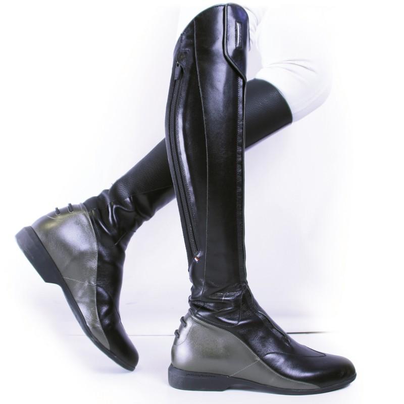 dc6c4ce6559 Bottes équitation cuir noir bronze Femme Foxy Freejump