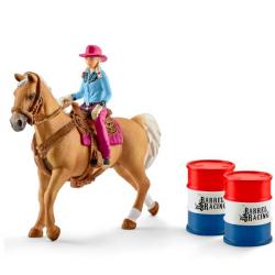 Kit de jeux Barrel Racing avec Cowgirl