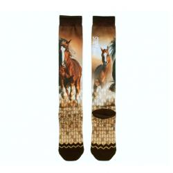 Chaussettes équitation motif cheval Marrons