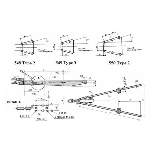 Flèche en V galvanisée 2T longue
