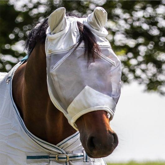 Masque anti-mouche cheval anti-UV avec oreilles Premium - Waldhausen