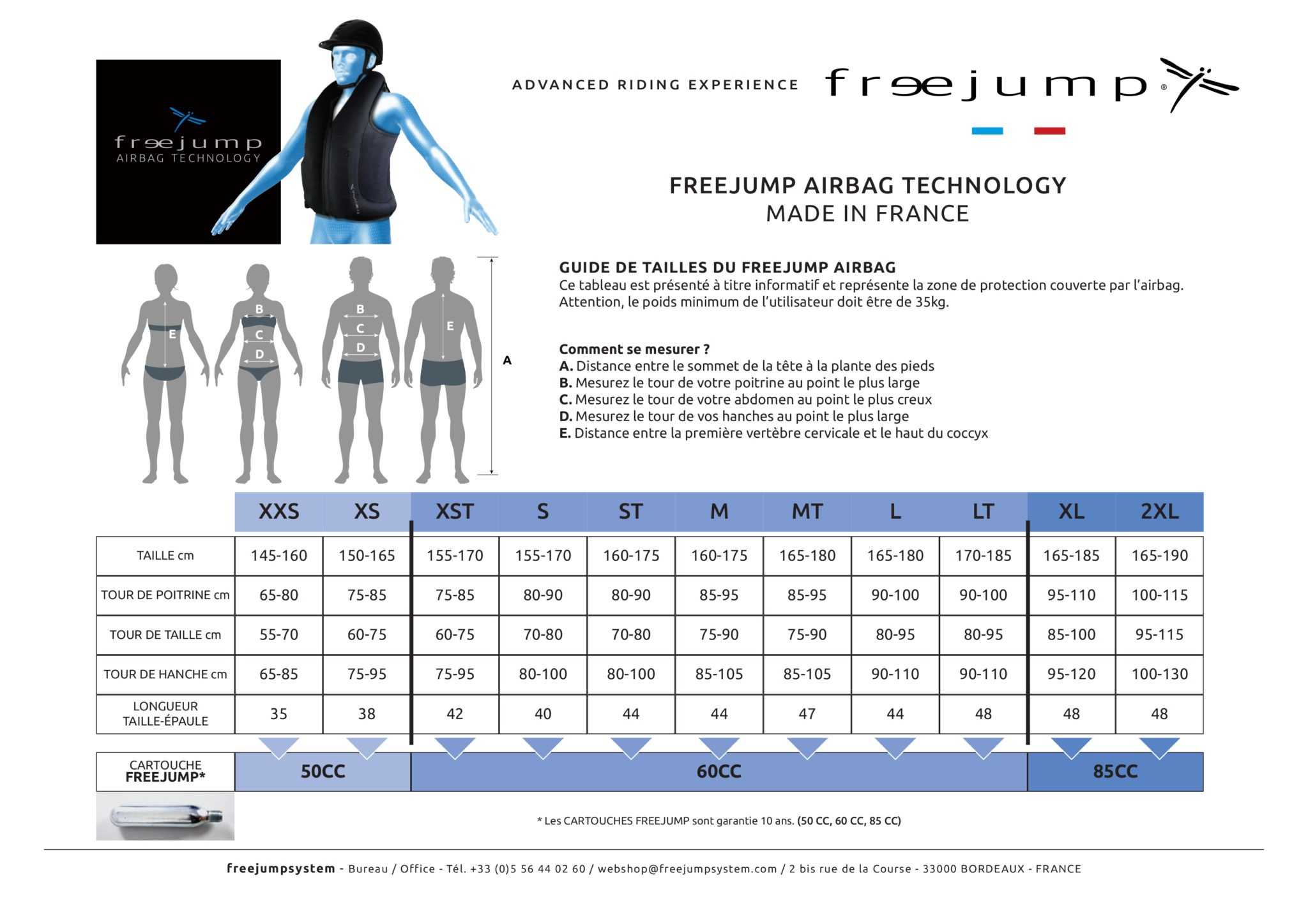 guide des tailles gilet airbag Freejump - Equestra
