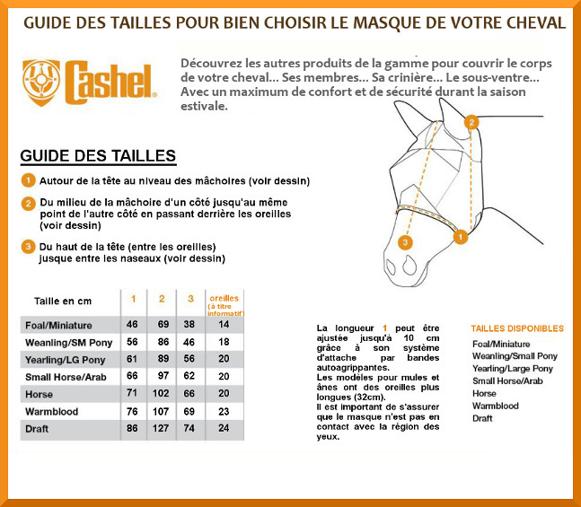 Guide des tailles masques anti-mouches Crusader Cashel