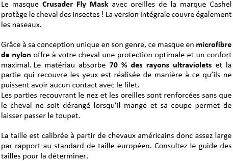 Masque anti-mouches intégral Crusader avec oreilles Cashel
