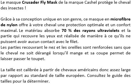 Masque anti-mouches Crusader Fly Mask Cashel