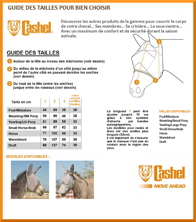 Guide des tailles masques anti-mouches âne Crusader Cashel