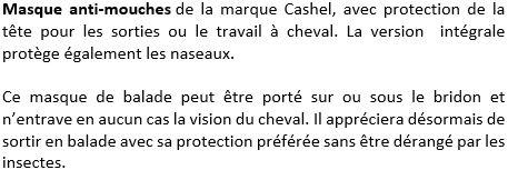 Masque anti-mouches intégral Quiet Ride Cashel