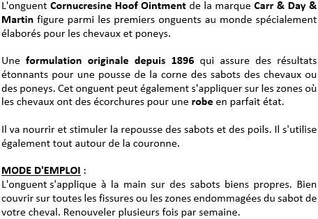 Onguent sabot Cornucrescine Hoof Ointment Carr & Day & Martin