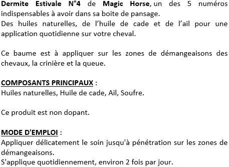 Dermite Estivale n°4 Magic Horse soin démangeaisons 100 ml