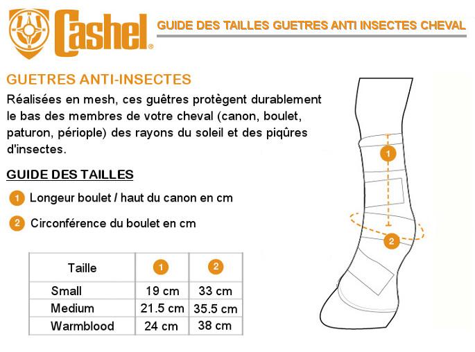 Guide tailles guêtres anti-insectes Cashel