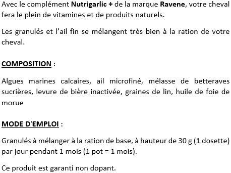Nutrigarlic + complément vitaminé cheval Ravene