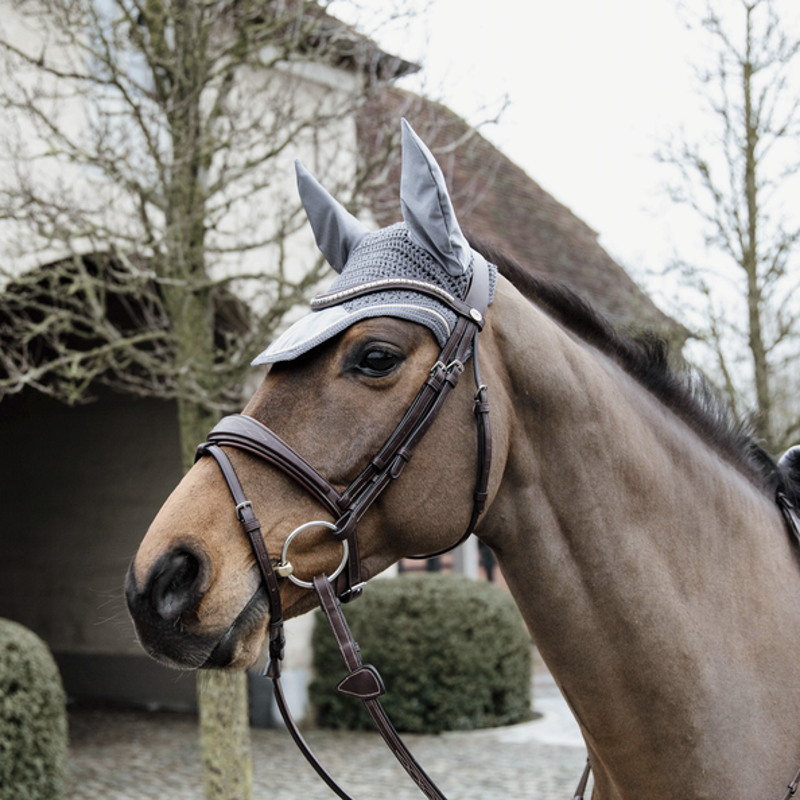 Bonnet anti-mouche cheval Velvet Basic Kentucky gris - Equestra
