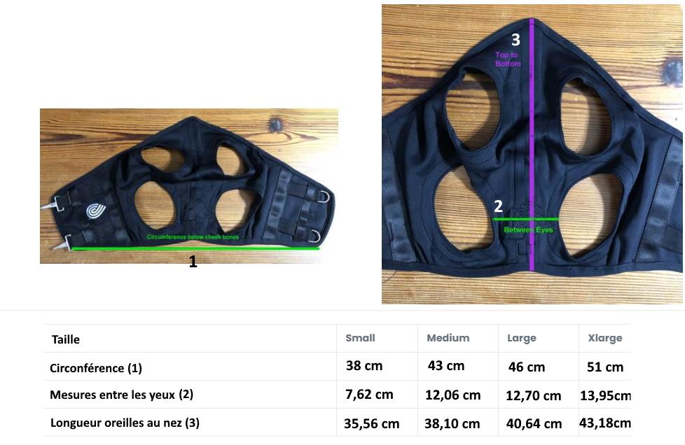 guide des tailles masque fenwick - Equestra