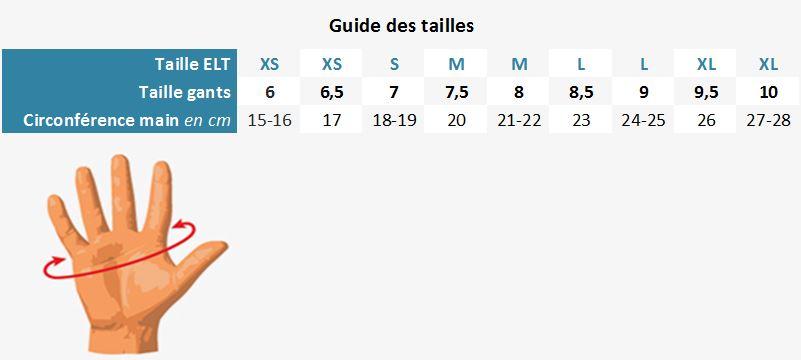 Guide des tailles gants ELT Paris